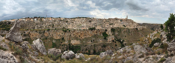 Large size panoramic view of Matera, considered the third oldest city in the world after Jericho and Aleppo, being inhabited continuously from the stone age to nowadays
