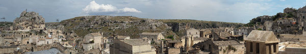 Large size panoramic view of the three different ages of Matera, considered the third oldest city in the world after Jericho and Aleppo, being inhabited continuously from the stone age to nowadays. World Heritage Site by UNESCO since 1993