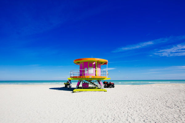 Lifeguard tower on a sunny day in South Beach, Miami, Florida, USA