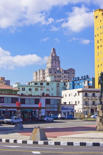The Lopez Serrano Building, an example of Art Deco architecture in Havana, Cuba, viewed from the Malecon coast road