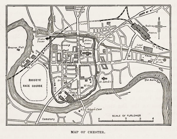 Prints Of Map Of The City Of Chester England Victorian Engraving