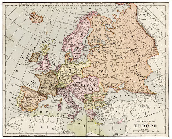 map of europe 1889 indiana educational series the complete geography indianapolis 1889