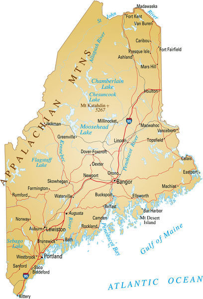 Map Of Maine Lakes.Map Of Maine Vector Illustration Of Map Of Maine With Major Roads