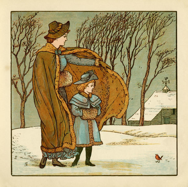 A mother shielding her daughter from the cruel north wind as they both contemplate a robin in the snow - The north wind doth blow and we shall have snow and what will poor robin do then, poor thing?a??. From a??The Babya??s Bouqueta?? by Walt