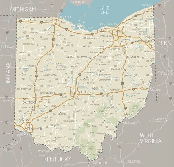 Ohio Map. A detailed map of Ohio state with cities, roads, major ...