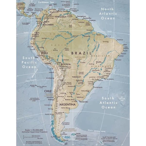 Physical map of South America - Vector illustration of the physical ...
