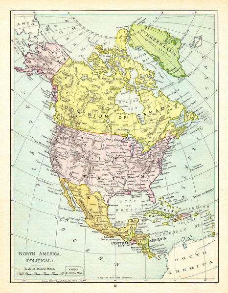 Political Map of North America 1895 - The Rand-McNally Grammar ...