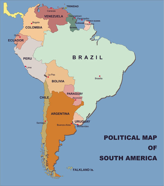 political map of south america in vector format - you can select ...