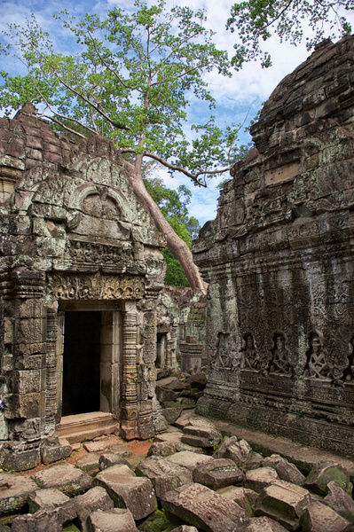 Ornately carved doorways and windows entangled with giant banyon tree roots are a common sight in the 12th-century Preah Khan Temple at the northern edge of the Angkor Archeological Park