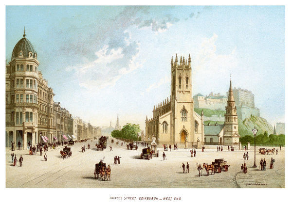 'Vintage print of Princes Street, Edinburgh West End Scotland circa 1880'