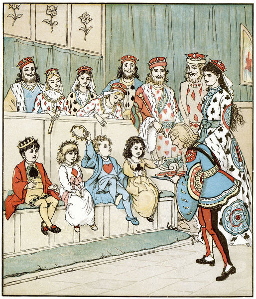 Vintage engraving from nursery rhyme The Queen of Hearts. The Knave of Hearts Brought back those Tarts