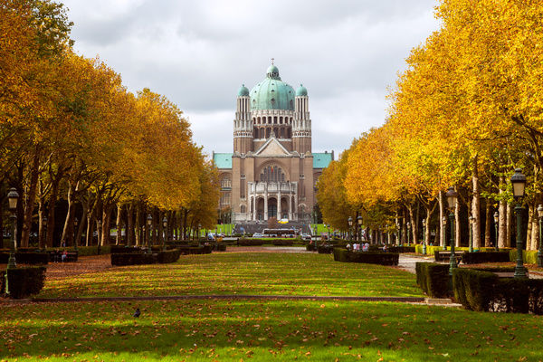 The Sacre-Coeur basilica in Brussels, seen from the front park, in the beginning of autumn