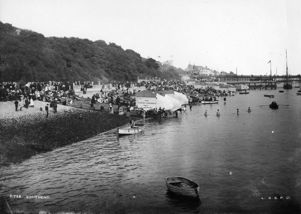 8th july 1898 a beach scene at southend on sea photo