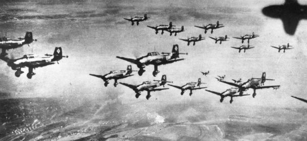 Stukas In Formation. circa 1940: German Stuka dive-bombers fly in formation