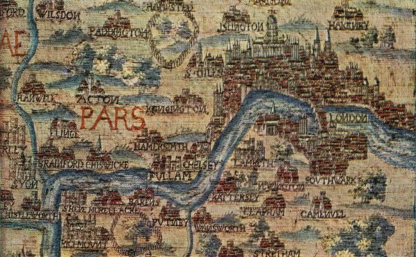An English tapestry map of London, from the mid 17th century. Property of the Yorkshire Philosophical Society, on display at the Victoria and Albert Museum in London. (Photo by Henry Guttmann/Hulton Archive/Getty Images)