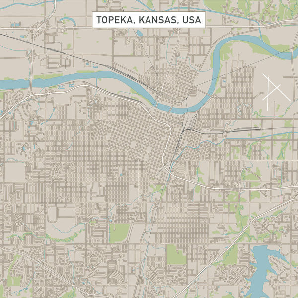 Vector Illustration of a City Street Map of Topeka, Kansas, USA. Scale 1:60,000.  All source data is in the public domain.  U.S. Geological Survey, US Topo  Used Layers:  USGS The National Map: National Hydrography Dataset (NHD)  USGS The National Map