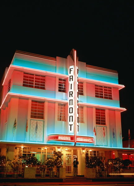 Usa Florida Miami Beach Art Deco Hotel Illuminated At Night