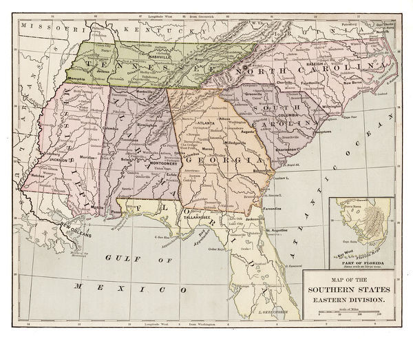 Prints Of Usa Southern States Map 1889 Indiana Educational Series