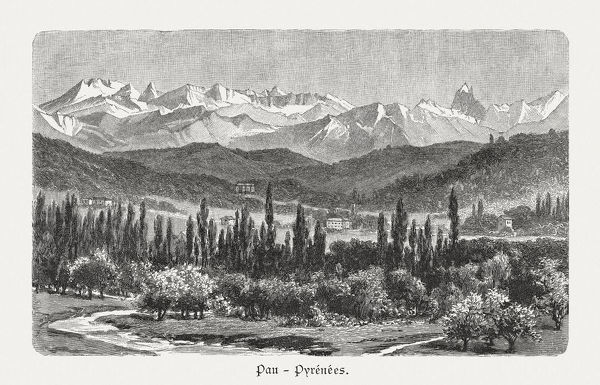 The Valley of Pau in the Pyrenees, France. Wood engraving after a photograph, published in 1897