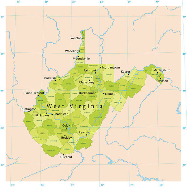 Virginia United States Map.West Virginia Vector Map Highly Detailed Vector Map Of West