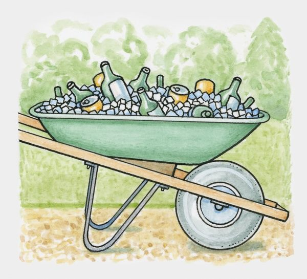 Wheelbarrow filled with ice and drinks in bottles and cans