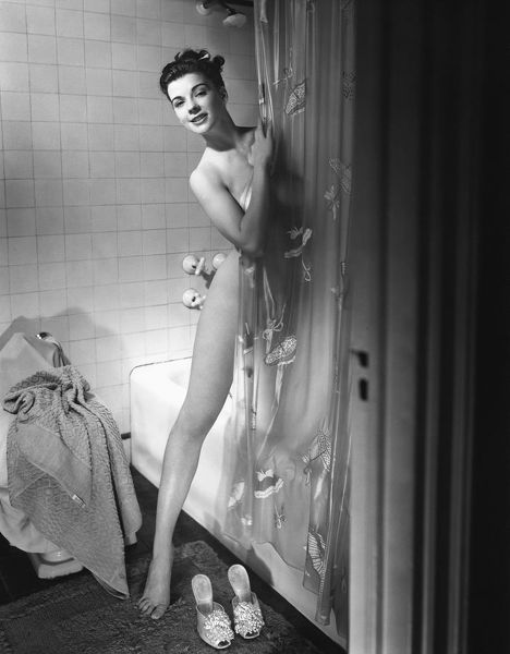 Woman behind shower curtain #11775244 Framed Prints, Wall Art