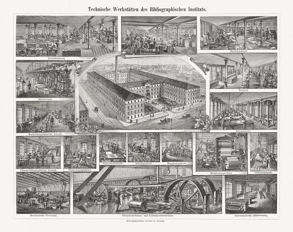 Technical workshops of the Meyers Bibliographic Institute in Leipzig, Saxony, Germany. Wood engraving, published in 1897