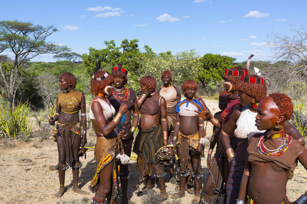 Group of Hamer women gathered for a ceremony. Omo Valley, southwestern Ethiopia