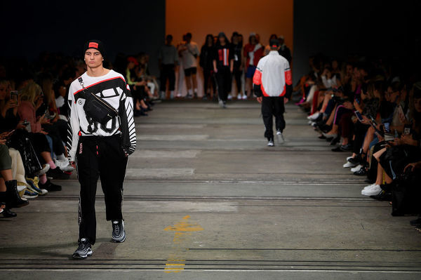 A model walks the runway wearing creations by P.E Nation during the Active show at Mercedes-Benz Fashion Week Australia in Sydney, Thursday, May 17, 2018. (AAP Image/Dan Himbrechts), EDITORIAL USE ONLY