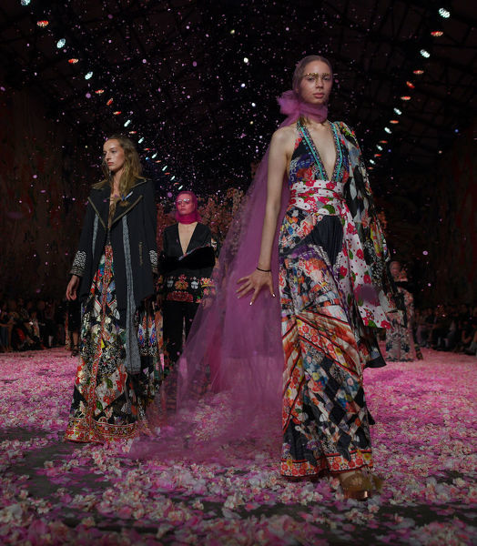 Models wear creations by Camilla during her fashion show during the Mercedes-Benz Fashion Week Australia in Sydney, Thursday, May 17, 2018. (AAP Image/David Moir), EDITORIAL USE ONLY