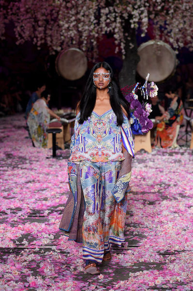 A model walks the runway wearing creations by Camilla during Mercedes-Benz Fashion Week Australia in Sydney, Thursday, May 17, 2018. (AAP Image/Dan Himbrechts), EDITORIAL USE ONLY