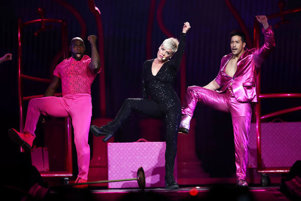 American singer Pink performs her first concert since returning from illness, of the Beautiful Trauma World Tour, at Qudos Bank Arena, in Sydney, Saturday, August 11, 2018