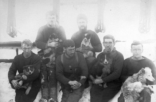 Photographer: Reginald William Skelton (1872-1956). Expedition: British National Antarctic Expedition 1901-04 (Discovery). Crew members of the ship Discovery. A group of six men seated on deck of a ship each holding a puppy or a dog