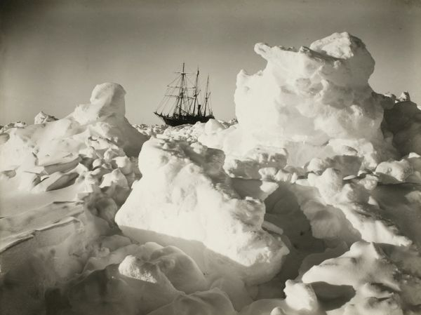 Photographer:Hurley, Frank (1885-1962) Location:Scott Polar Research Institute, University of Cambridge Expedition:Imperial Trans-Antarctic Expedition, 1914-17 (Endurance). Leader: Ernest Shackleton The Endurance among great blocks of pressure ice