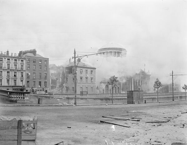 The Great Battle of Dublin   The capture of the Four Courts in Dublin.  The Four Courts ablaze from end to end after the explosion.  1 July 1922