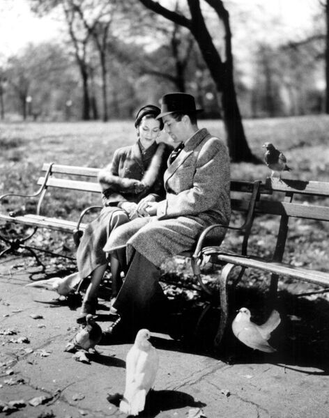 Romantic Cliched Couple 1950s Having A Quiet Moment In The Park Love