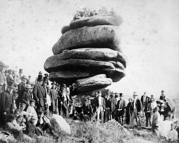 The Royal Cornwall Gazette reported on the excursion on 20th August 1868 'a photograph was taken of the Cheesewring and its surrounding swarm of human beings