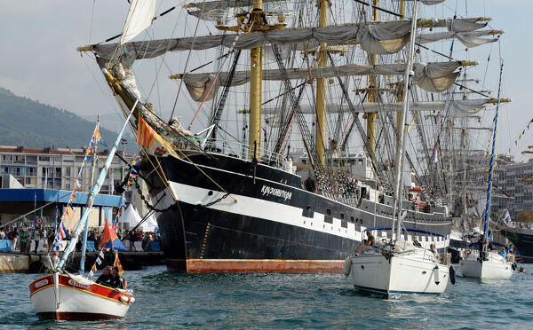 "This picture taken on September 27, 2013 shows the ""Krusenstern"", a Russian four masted schoolship, moored in the harbour of Toulon, southern France, where tall ships are moored for four days as part of the Mediterranean Tall Ships"