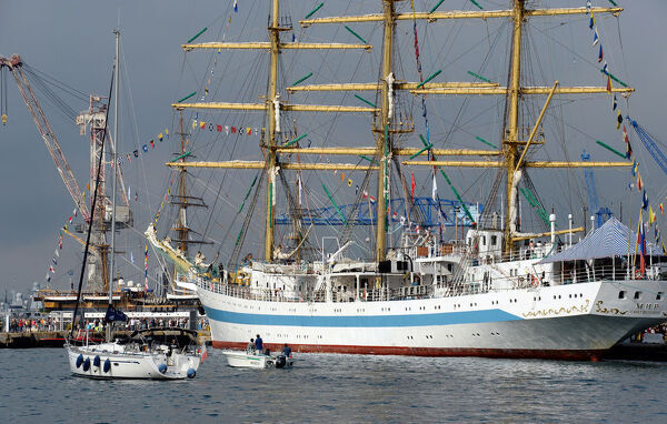 "This picture taken on September 27, 2013 shows Russia's ship ""Mir"" as it is moored in the harbour of Toulon, southern France, where tall ships are moored for four days as part of the Mediterranean Tall Ships Regatta ""Voiles de Legende&quot"