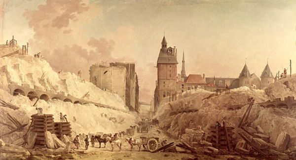 14x12 38x32cm Framed Print Of Demolition Of The Houses On The Pont Au Change In 1788 Oil On Canvas