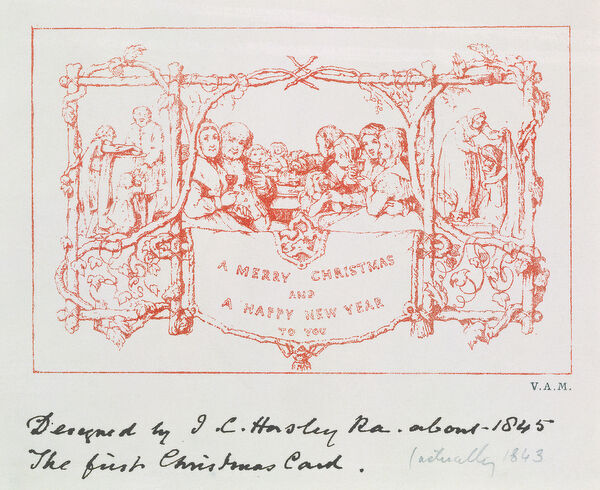 the first christmas card by j c horsley 1843 litho xcf14897