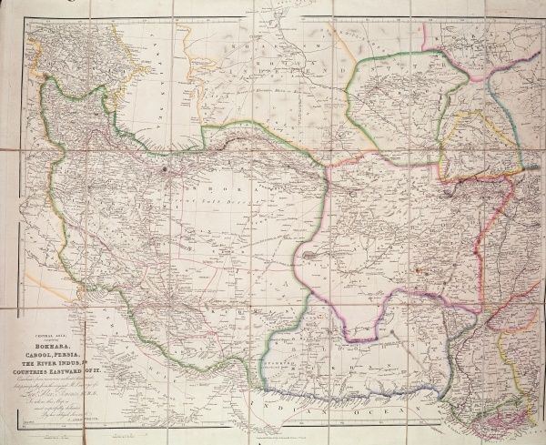 Map of Central Asia, 1834 (colour litho)