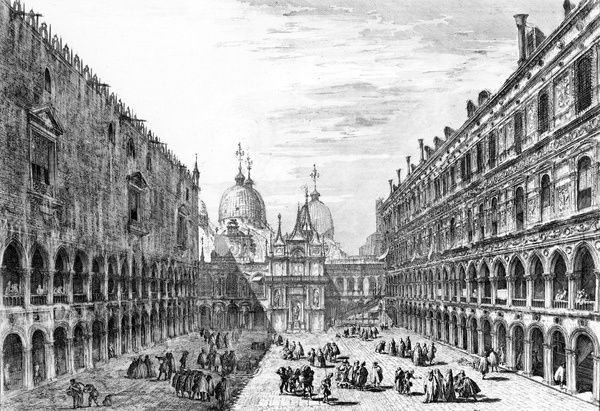 View of San Marco, Venice from the courtyard of the Palazzo Ducale, 1741 (etching)