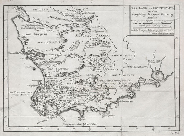 1757, Bellin Map of South Africa and the Cape of Good Hope - Photo ...