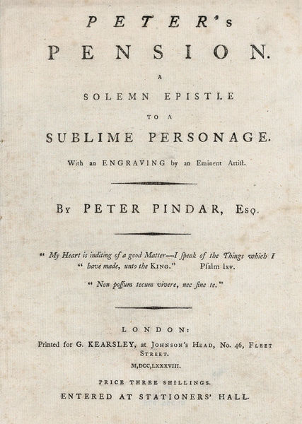 drawings and prints print title page from peters pension by peter pindar esq