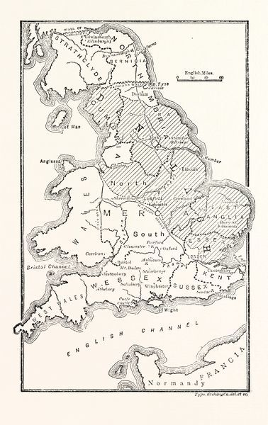 Anglo Saxon Map Of England.Prints Of Map Of England Showing The Anglo Saxon Kingdoms And Danish