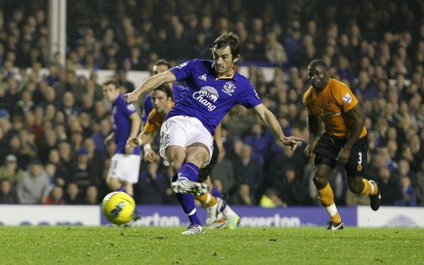 Everton's Leighton Baines scores his side's second goal of the game from the penalty spot