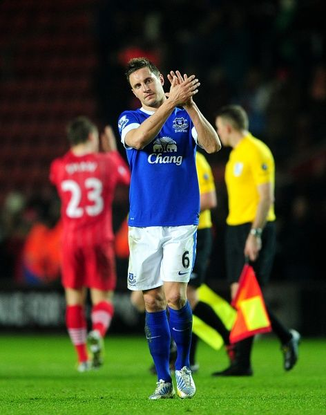 Everton's Phil Jagielka applauds the fans after the final whislte