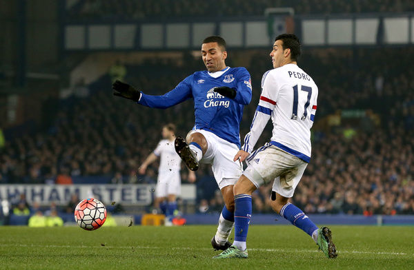 Everton's Aaron Lennon (left) and Chelsea's Pedro battle for the ball during the Emirates FA Cup, Quarter Final match at Goodison Park, Liverpool