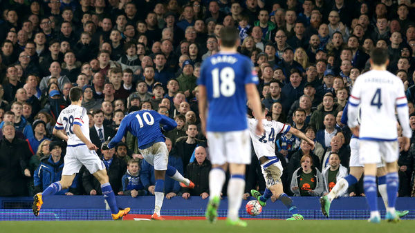 Everton's Romelu Lukaku scores his side's first goal of the game during the Emirates FA Cup, Quarter Final match at Goodison Park, Liverpool
